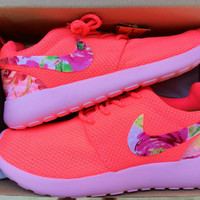 Custom Women's Nike Roshe Run Floral Swoosh