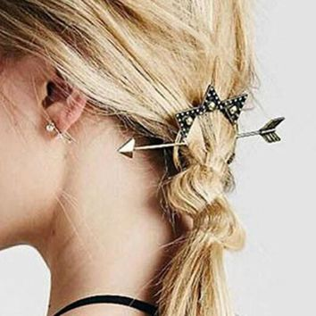 Fashion designer vintage antique gold arrow triangle hair clasp jewelry hair sticks for women accessories