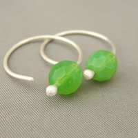 Lime Green Hoop Sterling Silver Modern Contemporary Czech Glass Earrings | The Silver Forge Handcrafted Jewellery