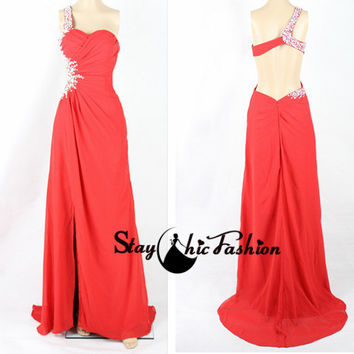 Sexy Red Ruched One Shoulder Beaded Cutout Side Open Back Slit Prom Dress