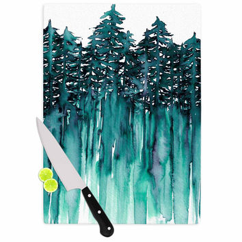 "Ebi Emporium ""Forest Through The Trees 5"" Teal White Cutting Board"