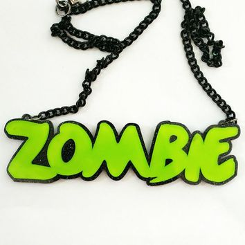 Fashion Choker Necklace Acrylic Letters Zombie Mermaid Charm Jewelry