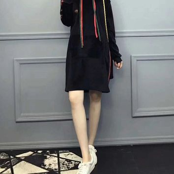 """Gucci"" Women Casual Velvet Multicolor Stripe Webbing Long Sleeve Middle Long Section Thickened Hooded Sweater Dress"