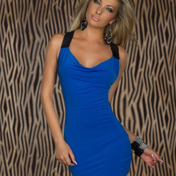 Blue Cowl Neck Sequined Strap Bodycon Mini Dress