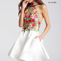 Jovani JVN54512 Halter Dress with Floral Bodice