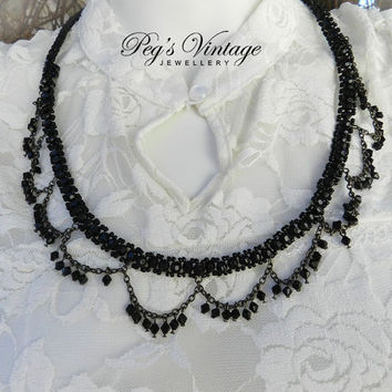 Vintage Black Chandelier Bead Necklace - Swag Chain Bead Necklace