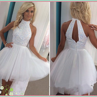 White Halter Homecoming Dresses