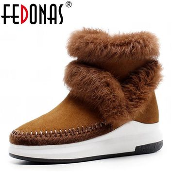 FEDONAS Women Wedges Heeled Cow Suede Genuine Leather Warm Plush Snow Boots Women Winter Shoes Woman Rabbit Fur Quality Boots