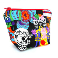 Day of the Dead Makeup Accessory Bag - Dios De Los Muertos Make Up Accessories Bag Pouch Clutch