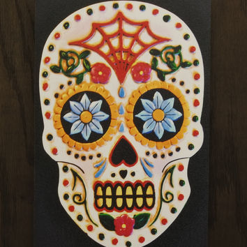 White Skull Wall Art - Wooden wall art - 3D Red Skull - Skull Wall Hanging - Sugar Scull - Day of the Dead - Wood Texture - Home Decor - Gift