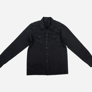 Fatigue Overshirt ~ Black Herringbone Twill