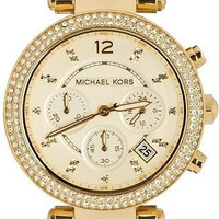 Michael Kors Women's Chronograph Parker Horn Acetate and Gold-Tone Stainless Steel Bracelet Watch 39mm MK5632