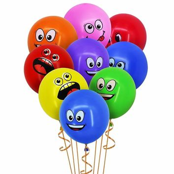 CCINEE Cute Printed Big Eyes Smiley Latex Balloons Happy Birthday Party Decoration Inflatable Air Ballons Balls for Kids Gift