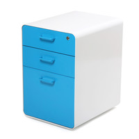 White + Pool Blue West 18th 3-Drawer File Cabinet
