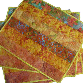 Batik Placemats Quilted in Tangerine and Orange
