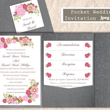 Printable Pocket Wedding Invitation Suite Printable Invitation Floral Invitation Pink Invitation Download Invitation Edited jpeg file