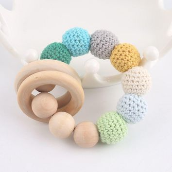 Baby Bracelet Food Grade Materials Wooden Teether Crochet Bead DIY Crafts Baby Gifts Wood Ring Baby Products Baby Rattle Toy