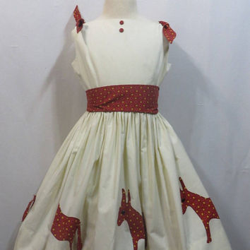 Vintage Dress 50s 1950s Girls Novelty Border Print Pin the Tail on the Donkey Ditsy Calico Button Back Party Summer Ruth of California 6X 6