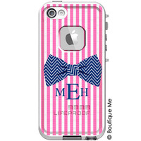 Seersucker & Bow Tie Monogrammed LifeProof Fre iPhone 5/5s, iPhone 5c or iPhone 4/4s Personalized Phone Case