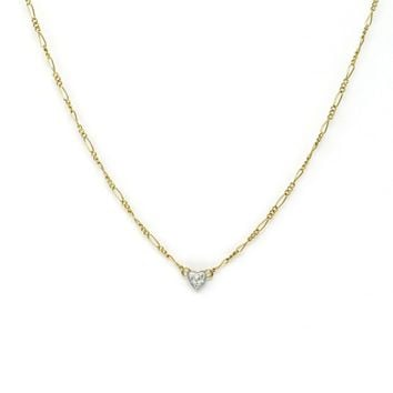 Minimalist Diamond Heart 14k Gold Necklace, Vintage, 1930s to 1980s