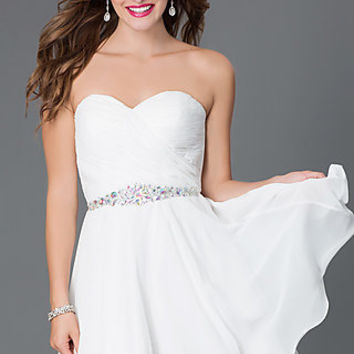 Short Strapless White Chiffon Dress 9115