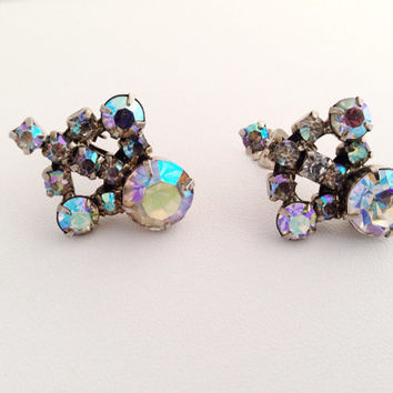 Vintage Aurora Borealis Rhinestone Clip Earrings - AB rhinestones - clip-on - rainbow - spectrum blue - purple - crystal rhinestone