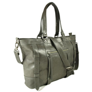 UN1 gray leather large tote