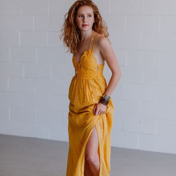 Aranza Lace Bralette Maxi Dress - Mustard
