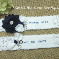 Police Wife Wedding Garter Set,Navy Blue Wedding Garter Set, Wedding Accessories