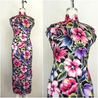 Vintage Late 1960s Asian Inspired Floral Dress