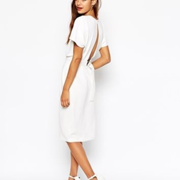 ASOS Wiggle Dress in Crepe with Open Wrap Back and D-Ring at asos.com