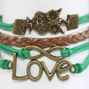 WISE~ Owl Bracelet, Infinity Bracelet, Love Bracelet, Green Owl Bracelet, Animal Bracelet, Wisdom Bracelet, Birthday Gift, ilovecheesygrits
