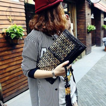 New Summer Women's Trendy Metal Punk Rivet Day Clutch Evening Party Casual Cross Body Tassel Shoulder Messenger Bag