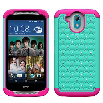HTC Desire 526 Rhinestone Case , Slim Hybrid Dual Layer[Shock Resistant] Crystal Rhinestone Studded Case Cover - Teal/Hot Pink