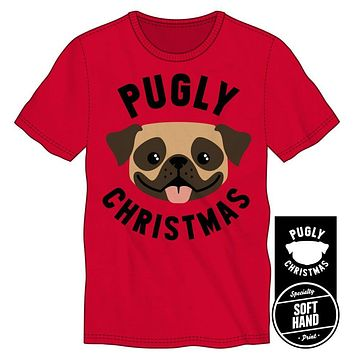 Pugly Christmas Men's Red T Shirt