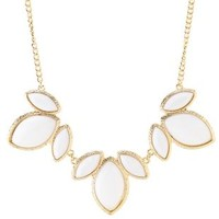 Smooth Stone Statement Necklace by Charlotte Russe - White