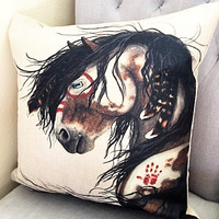 GORGEOUS High End Cotton Linen Retro-Vintage Designer Native American Paint Horse Pillow!