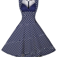 Blue Polka Dot Sleeveless Sheath Tent Mini Dress