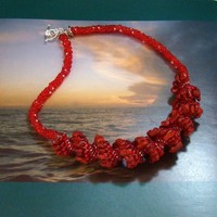 Red Sponge Coral Chip Ceilini Spiral Bead Woven necklace, Ruby Red,......