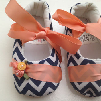 Blue waves stripe baby shoes