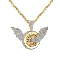 Designer Flying B Wings Luxury Car Logo Iced Out  Pendant