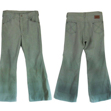 Vintage 70s Bell Bottom Jeans Bell Bottom Pants Green Pants Boy Jeans Hippie Pants 70s Party 70s Clothing 70s Clothes Boy Clothing 1970s