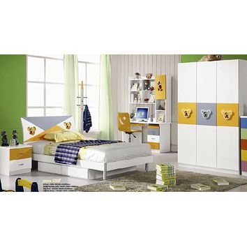 5 Pcs Loft Kids  BedRoom Set Table And Chair Wood Kindergarten Furniture - White Theme