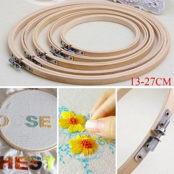 Wooden Cross Stitch Machine Embroidery Hoops Ring Bamboo Sewing Tools