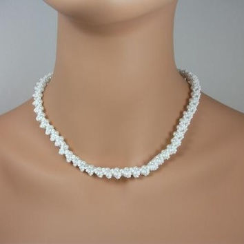 Handmade Woven White Seed Glass Pearl Bead Necklace