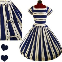 Vintage 50s BLUE White FULL SKIRT Swing PARTY Dress M L Rockabilly Cotton Stripe | eBay
