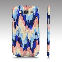 Samsung Galaxy s3 case, Galaxy S4 case, chevron, art, abstract painting, light blue, navy peach pastel chevron painting, art for your phone