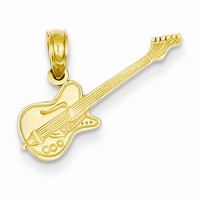 14k Yellow Gold Electric Guitar Charm Pendant
