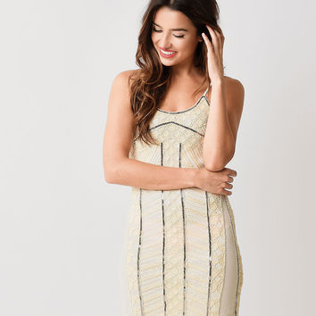 1920s Style Beige & Silver Sequin Beaded Flapper Cocktail Dress