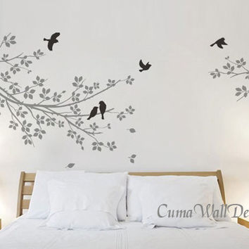 Vinyl wall decals grey branch Wall sticker birds Nursery wall decal Children wall vinyl decal tree-2 parts branch with birds Z115 by cuma